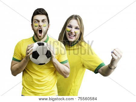 Brazilian fan couple celebrates on white