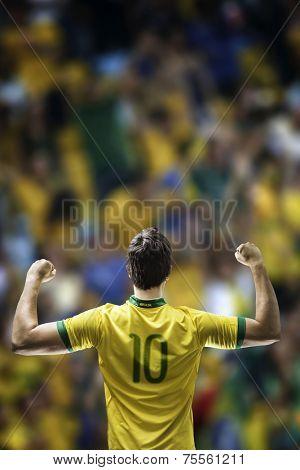 Brazilian soccer player celebrates on the stadium