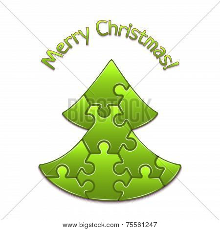 Vector christmas tree maded from puzzles