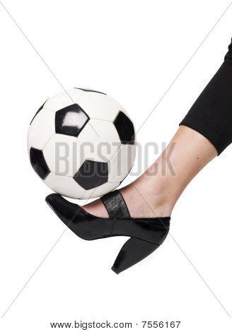 Ladyshoe kicking ball