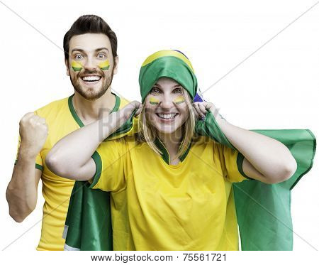 Brazilian couple fan celebrate on white background