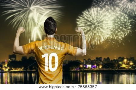 Dutchman soccer player celebrates the victory after the match