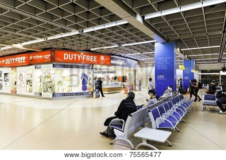 SAO PAULO, BRAZIL - CIRCA MAY 2014: Departure lounge inside Gru Airport in Sao Paulo, Brazil. Gru Airport is located in Sao Paulo and is the main airport in Brazil.