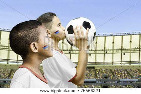 American fan boys in the stadium