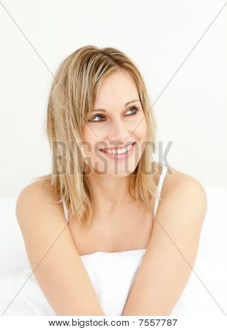 Portrait Of A Delighted Woman Bed In The Morning