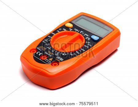 Orange Multimeter On A White Background
