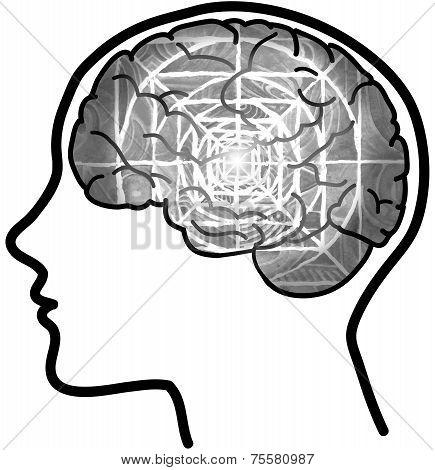 Profile with visible brain and grey mandala.