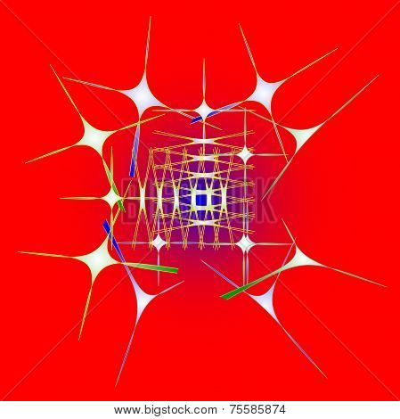 Aimless-color Abstract Composition With A Color Strokes On A Red Background.