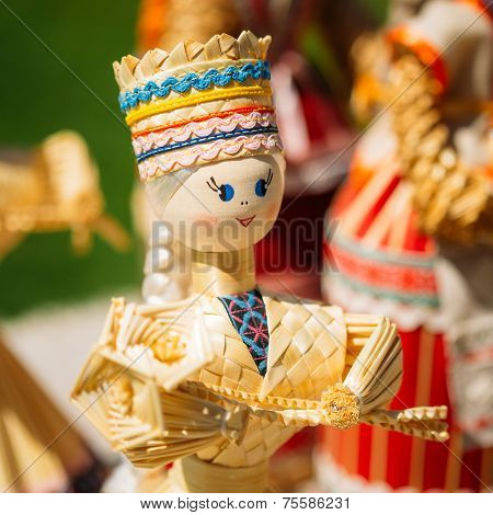 Colorful Belarusian Straw Dolls At The Market. Straw Dolls Are The Most Popular Souvenirs From Belarus And Symbol Of Country's Culture poster