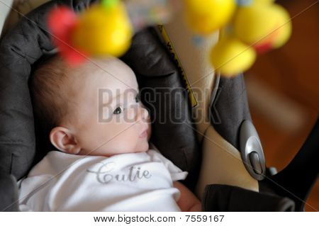 Little two month old baby playing in a carseat poster