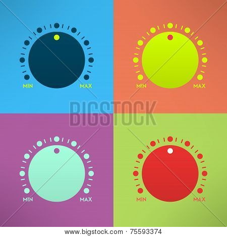 Set of bright volume knobs for player. Vector