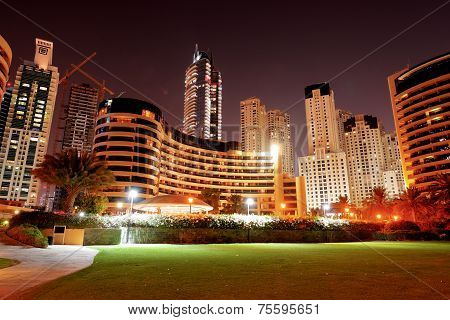 Night Illumination Of The Luxury Hotel, Dubai, Uae