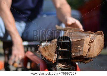 Man cutting wood with log splitter