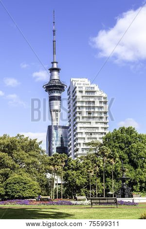 AUCKLAND, NZ - CIRCA MAY 2014:Auckland Sky Tower. It's 328 metres (1,076 ft) tall from ground level to the top of the mast,making it the tallest free-standing structure in the Southern Hemisphere.