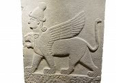 ANKARA TURKEY - MAY 21 2014 - Griffin mythical winged beast from Kargama about 800 BCE poster