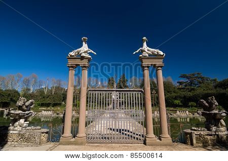 Gate with capricorns and harpys in Island Fountain (Vasca dell`Isola), Boboli, Gardens, Florence, Tuscany, Italy. Unesco World Heritage site. poster