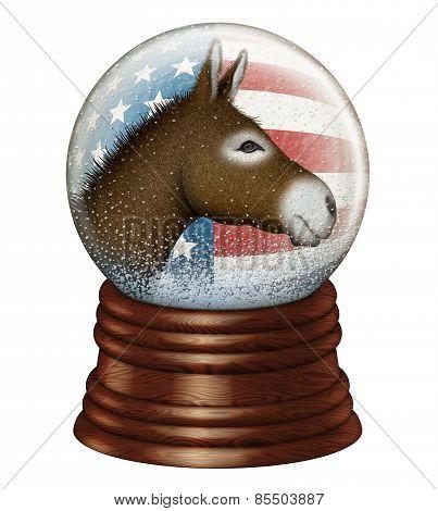 Democrat Donkey Snow Globe