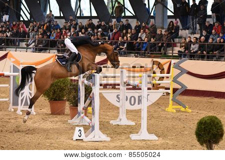 KAPOSVAR, HUNGARY - MARCH 15: Zoltan Lazar jumps with his horse (Lacrima Di Felicita) on the Masters Tournament International Jumping Competition, March 15, 2015 in Kaposvar, Hungary