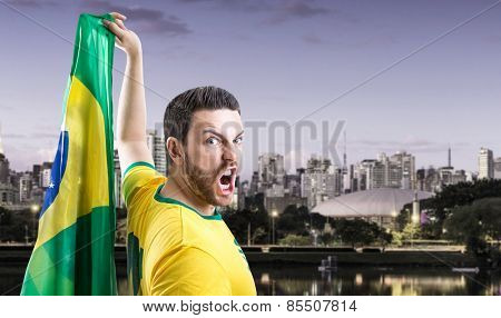 Man holding the Brazilian flag in Sao Paulo, Brazil