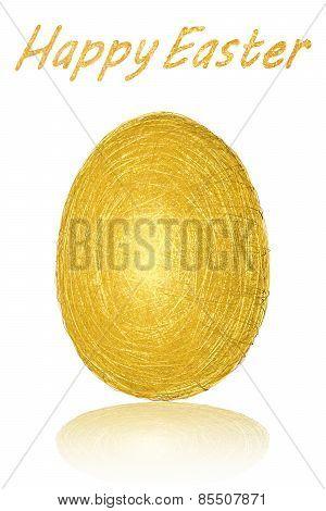 Easter Egg Of Gold Stripes On White Background