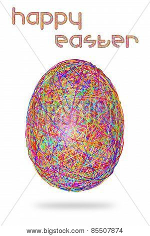 Easter Egg Of Colorful Stripes On White Background