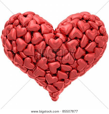 Heart Shape Composed Of Many Red Hearts Isolated On White