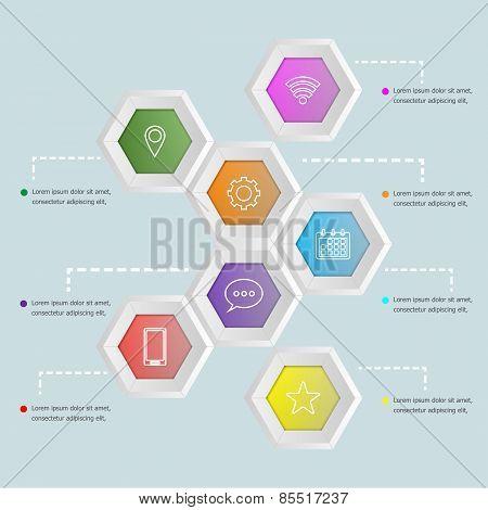 3D Hexagon Shape Infographic Template