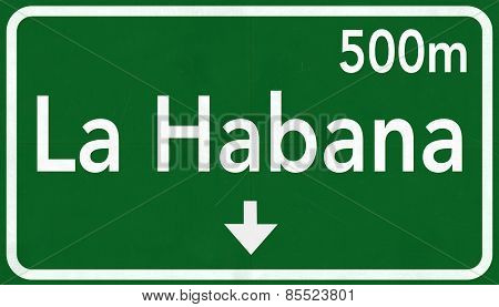 La Habana Cuba Highway Road Sign 3D artwork poster