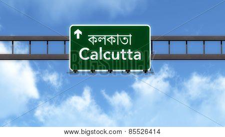 Calcutta India Highway Road Sign