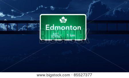 Edmonton Transcanada Canada Highway Road Sign at Night