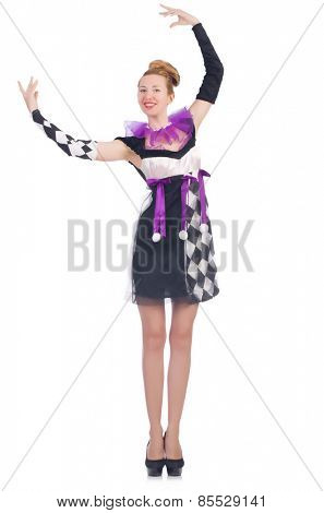 A girl in harlequin costume isolated on white poster