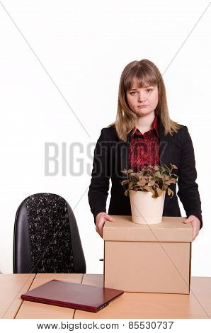 Dismissed Girl In Office To Collect Things A Box