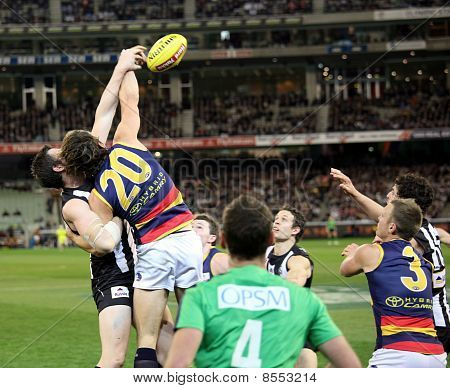 Melbourne - August 21:  A Strong Ruck Contest During Collingwood's Win Over Adelaide - August 21, 20