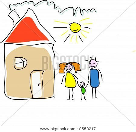 Childs drawin of a happy family