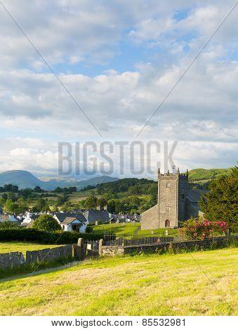 Beautiful English village of Hawkshead Lake District England uk on a beautiful summer day