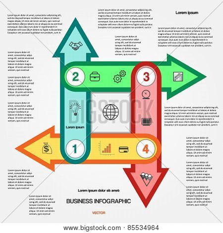 Template With 4 Options Multi-coloured Arrows For Infographic
