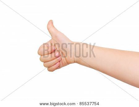 Child's Hand Showing Thumb Up, Like Sign.