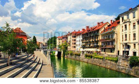 Ljubljana, Slovenia -  July 28, 2014: Old Town Embankment In Ljubljana. Ljubljana Is The Business An