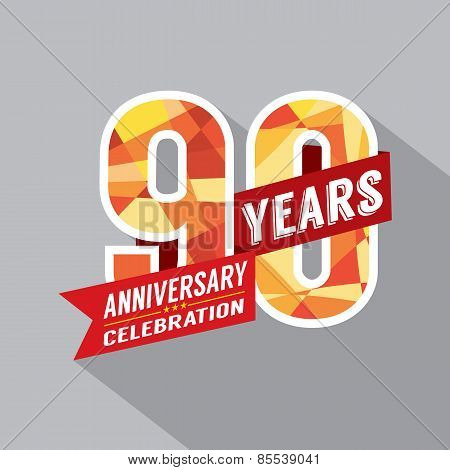 90th Years Anniversary Celebration Design Vector. EPS 10 poster