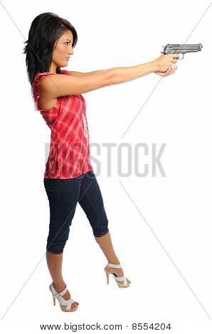 Woman Pointing A Pistol
