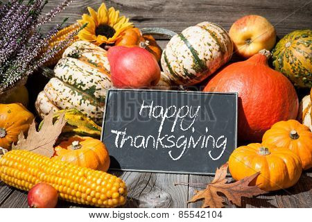 Thanksgiving day autumnal still life with pumpkins and holiday text on old wooden background poster