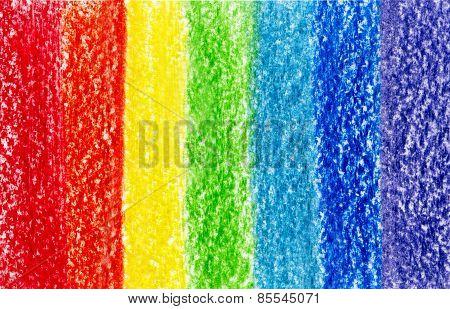 Seven Crayon Multi Colored Strokes