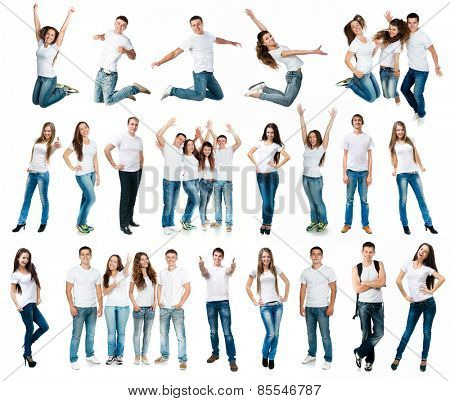 photo collage of young boys and girls in t-shirts and jeans isolated on white background
