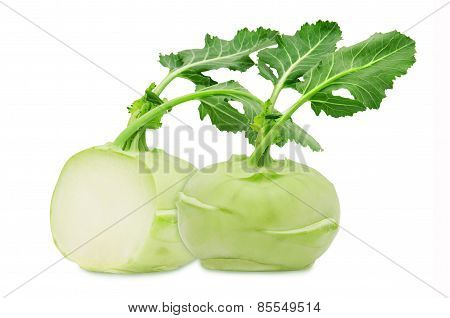 Fresh green kohlrabi