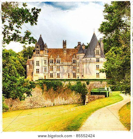 fairy castles of France.Puyguilhem. artistic picture