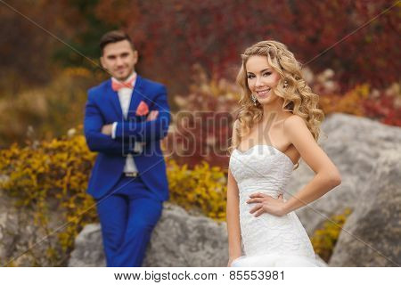 The bride and groom - the photograph in the Park.