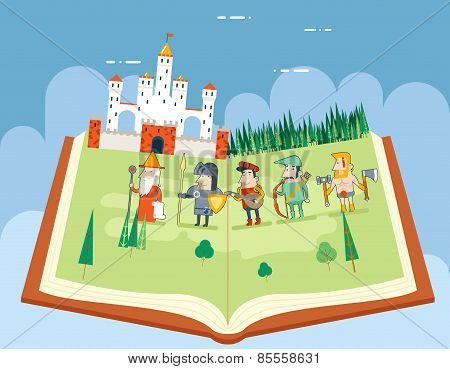Fairy Tales History Books Reading Concept Symbol Castle Forest Field on Sky Background Flat Design I