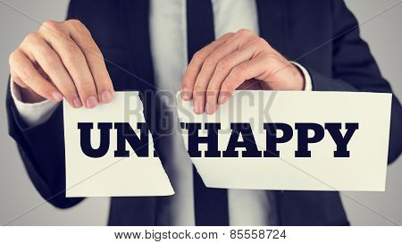 Close Up Conceptual Businessman Tearing A White Paper With Unhappy - Happy Message Isolated On A Gra