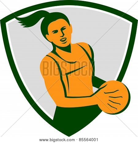 Netball Player Holding Ball Retro