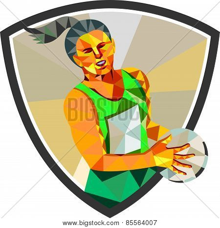 Netball Player Holding Ball Low Polygon